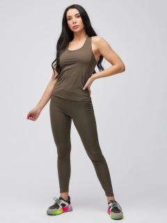Спортивный костюм для фитнеса женский осенний цвета хаки купить оптом в интернет магазине MTFORCE 21104Kh