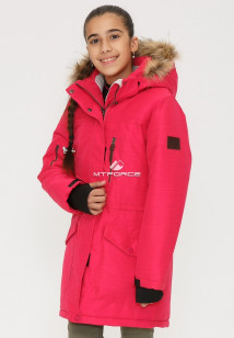 Купить оптом куртку парку зимнию подростковую для девочки розового цвета G23R в интернет магазине MTFORCE.RU