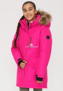 Купить оптом куртку парку зимнию подростковую для девочки розового цвета G23-1R в интернет магазине MTFORCE.RU