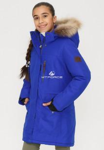 Купить оптом куртку парку зимнию подростковую для девочки синего цвета G23S в интернет магазине MTFORCE.RU