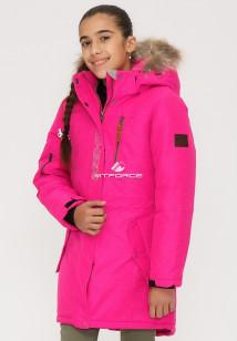Купить оптом куртку парку зимнию подростковую для девочки розового цвета G25-1R в интернет магазине MTFORCE.RU