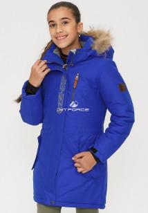 Купить оптом куртку парку зимнию подростковую для девочки синего цвета G25S в интернет магазине MTFORCE.RU