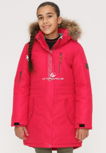 Купить оптом куртку парку зимнию подростковую для девочки розового цвета G25R в интернет магазине MTFORCE.RU