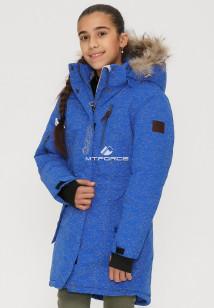 Купить оптом куртку парку зимнию подростковую для девочки синего цвета G27S в интернет магазине MTFORCE.RU