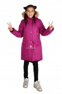 Купить оптом куртку парку зимнию подростковую для девочки фиолетового цвета G61F в интернет магазине MTFORCE.RU