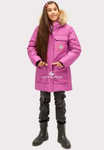 Купить оптом куртку парку зимнию подростковую для девочки фиолетового цвета HM-110F в интернет магазине MTFORCE.RU