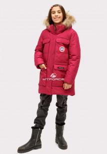 Купить оптом куртку парку зимнию подростковую для девочки бордового цвета HM-110Bo в интернет магазине MTFORCE.RU