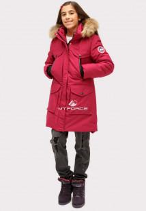 Купить оптом куртку парку зимнию подростковую для девочки бордового цвета HM-109Bo в интернет магазине MTFORCE.RU