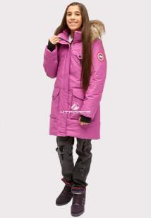 Купить оптом куртку парку зимнию подростковую для девочки фиолетового цвета HM-109F в интернет магазине MTFORCE.RU