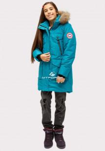 Купить оптом куртку парку зимнию подростковую для девочки бирюзового цвета HM-109Br в интернет магазине MTFORCE.RU