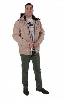 Купить оптом куртку мужскую осень весна бежевого цвета 1718-1B в интернет магазине MTFORCE.RU