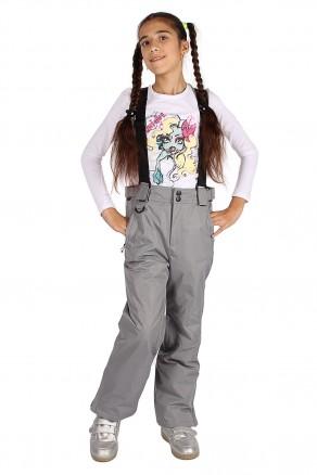 Купить оптом брюки горнолыжные подростковые для девочки серого цвета 816Sr в интернет магазине MTFORCE.RU