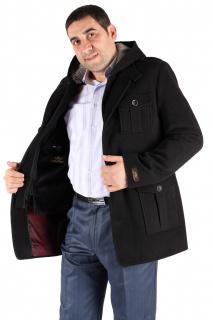 Купить оптом полупальто мужское черного цвета Кс-03Ch в интернет магазине MTFORCE.RU