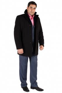 Купить оптом пальто мужское черного цвета Кс-17Ch в интернет магазине MTFORCE.RU