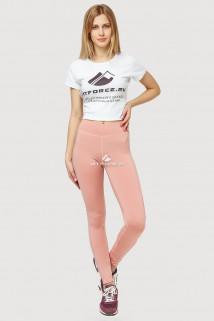 Купить оптом брюки легинсы женские розового цвета 192R  в интернет магазине MTFORCE.RU