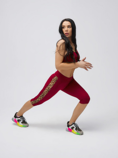 Спортивный костюм для фитнеса женский осенний весенний бордового цвета купить оптом в интернет магазине MTFORCE 21107Bo
