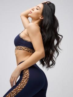 Спортивный костюм для фитнеса женский осенний весенний темно-синего цвета купить оптом в интернет магазине MTFORCE 21107TS