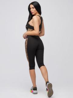 Спортивный костюм для фитнеса женский осенний весенний черного цвета купить оптом в интернет магазине MTFORCE 21107Ch