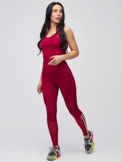 Спортивный костюм для фитнеса женский осенний весенний бордового цвета купить оптом в интернет магазине MTFORCE 21106Bo