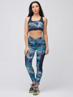 Спортивный костюм для фитнеса женский голубого цвета купить оптом в интернет магазине MTFORCE 21102Gl