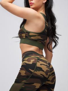 Спортивный костюм для фитнеса женский осенний весенний цвета хаки купить оптом в интернет магазине MTFORCE 21102Kh