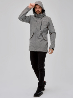 Купить оптом мужскую осеннюю весеннюю парку softshell светло-серого цвета в интернет магазине MTFORCE 2018SS