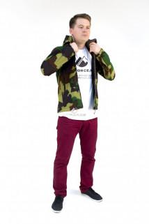 Купить оптом ветровка - виндстоппер мужская болотного цвета 16371Bt в интернет магазине MTFORCE.RU