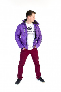 Купить оптом куртку мужскую осень весна фиолетового цвета 1718F в интернет магазине MTFORCE.RU