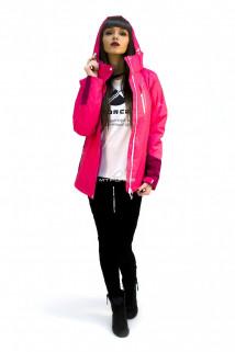 Куртка спортивная женская осень весна розового цвета 1714R в интернет магазине MTFORCE.RU