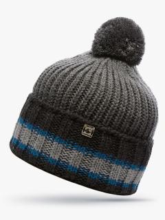 Купить оптом вязанную шапку зимнюю серого цвета в интернет магазине MTFORCE 5901Sr