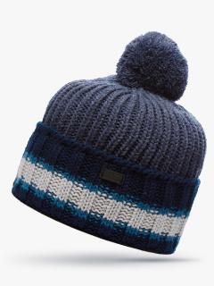 Купить оптом вязанную шапку зимнюю темно-синего цвета в интернет магазине MTFORCE 5901TS