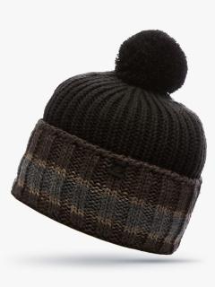 Купить оптом вязанную шапку зимнюю коричневого цвета в интернет магазине MTFORCE 5901K