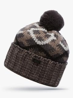Купить оптом вязанную шапку зимнюю коричневого цвета в интернет магазине MTFORCE 5902K