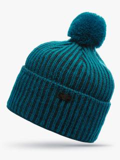 Купить оптом вязанную шапку зимнюю темно-зеленного цвета в интернет магазине MTFORCE 5903TZ