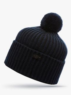 Купить оптом вязанную шапку зимнюю темно-синего цвета в интернет магазине MTFORCE 5903TS