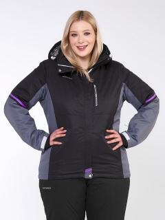Купить оптом женскую зимнюю горнолыжную куртку большого размера черного цвета в интернет магазине MTFORCE 1934Ch