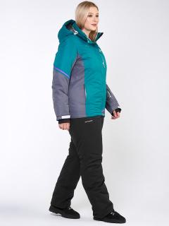Горнолыжный костюм женский зимний большого размера зеленого цвета купить оптом в интернет магазине MTFORCE 01934Z