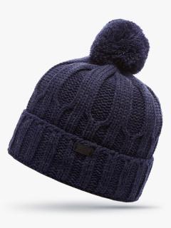 Купить оптом вязанную шапку зимнюю синего цвета в интернет магазине MTFORCE 5904S
