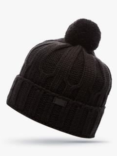 Купить оптом вязанную шапку зимнюю черного цвета в интернет магазине MTFORCE 5904TС
