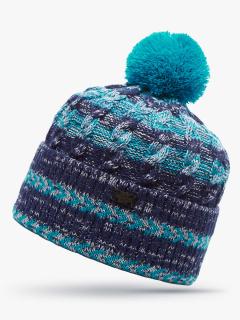 Купить оптом вязанную шапку зимнюю голубого цвета в интернет магазине MTFORCE 5907Gl