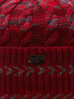 Купить оптом вязанную шапку зимнюю бордового цвета в интернет магазине MTFORCE 5907Bo