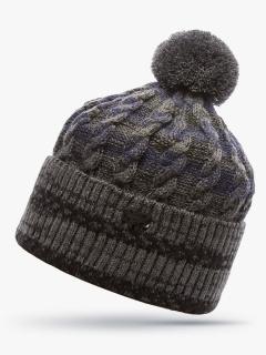 Купить оптом вязанную шапку зимнюю серого цвета в интернет магазине MTFORCE 5907Sr