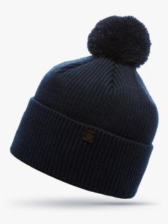 Купить оптом вязанную шапку зимнюю темно-синего цвета в интернет магазине MTFORCE 5908TS