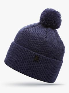 Купить оптом вязанную шапку зимнюю темно-синего цвета в интернет магазине MTFORCE 5908-2TS