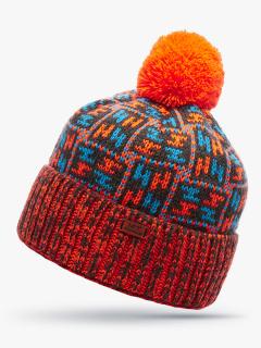 Купить оптом вязанную шапку зимнюю оранжевого цвета в интернет магазине MTFORCE 5922O