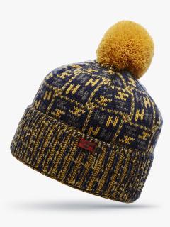 Купить оптом вязанную шапку зимнюю желтого цвета в интернет магазине MTFORCE 5922J