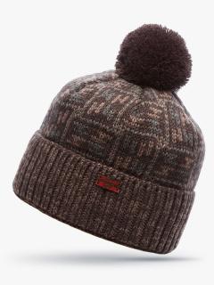 Купить оптом вязанную шапку зимнюю коричневого цвета в интернет магазине MTFORCE 5922K