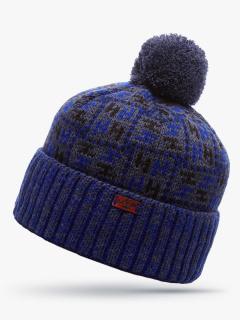 Купить оптом вязанную шапку зимнюю темно-синего цвета в интернет магазине MTFORCE 5922TS