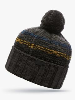 Купить оптом вязанную шапку зимнюю темно-серого цвета в интернет магазине MTFORCE 5923TC