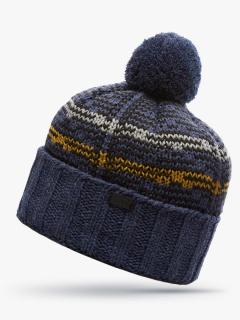 Купить оптом вязанную шапку зимнюю синего цвета в интернет магазине MTFORCE 5923S